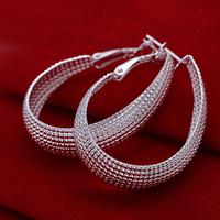 "Fast/Free Shipping Wholesale 925 Sterling Silver Jewelry Mesh ""U"" Style Earrings Women Gift Trendy Brincos Earring E64"