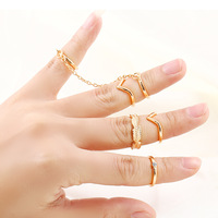 6pcs/Sets Brand Design Fashion Vintage Elegant Romantic Delicate Rhinestone Tree Leaves Chain Rings Sets Jewelry Wholesale PD22