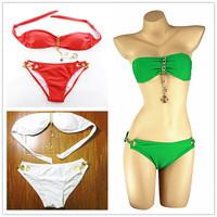 BK181 Sexy Bikini Women Swimwear New Fashion 2015 Brand Quality Gift Red Green Black White Solid Color Swimsuit