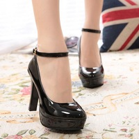 High-heeled shoes professional thin heels princess single shoes wedding shoes round toe meters red black and white waterproof