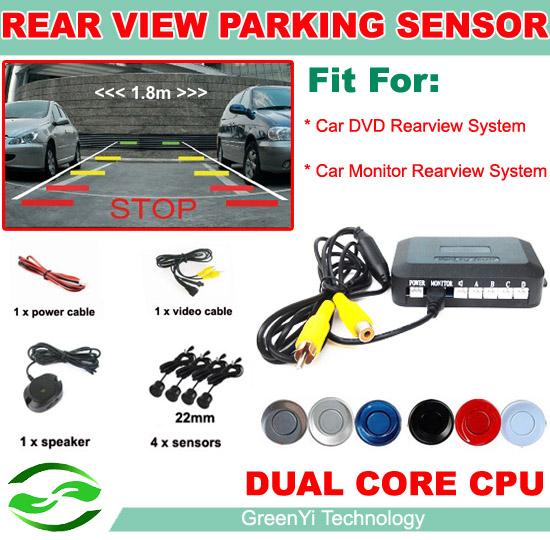 Car Parking Sensor Reverse Backup Assistance Car HD Visual Reversing Radar image all-in-one System + 4 Sensors 6 Colors(China (Mainland))