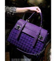 New British fashion PU personalized stitching woolen buckle motorcycle chain handbag shoulder bag messenger bag lady 4 colors
