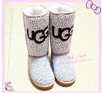 Free shipping fashion women handmade rhinestone pearl fur one piecerhinestone snow boots high-leg
