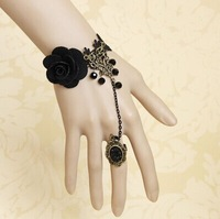 10pcs/lot Gothic fashion Vintage Rose flower bracelet with one chain ring