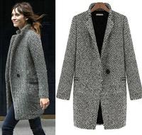 woman winter coat women 2014 autumn winter Europe Houndstooth long Coat Grey wool Fashion Overcoat s,m,l,xl trench