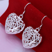 Fast/Free Shipping Wholesale Price 925 Sterling Silver Jewelry Solid Heart Dangle Earrings Women Gift Trendy Brincos Earring E75