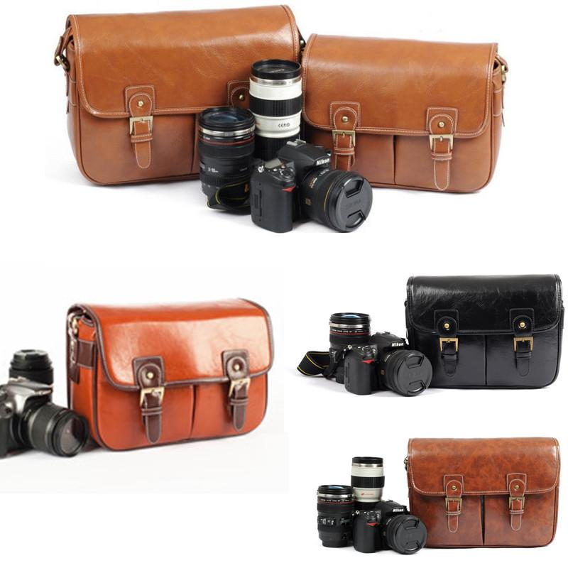 Vintage Leather Camera Shoulder Messenger Bag Padded For DSLR Canon Nikon Sony(China (Mainland))