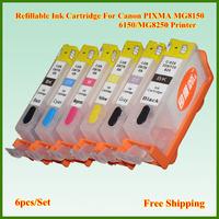 Wholesale 525 526 6pcs/set PGI525 CLI526 Refillable Ink Cartridge with Chip for Canon PIXMA MG8150/6150/MG8250 Printer