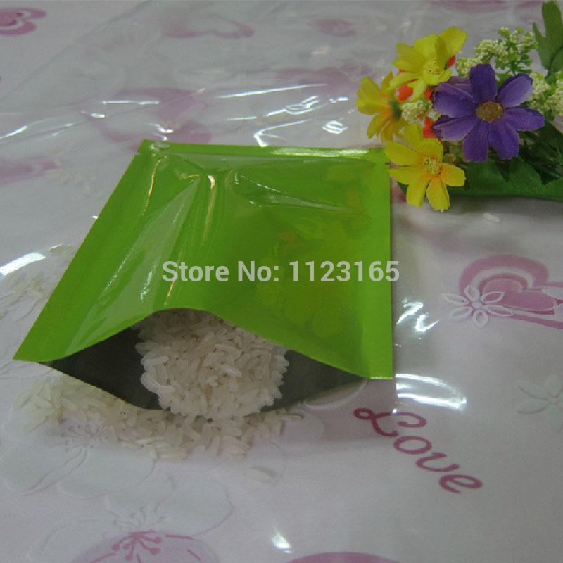 8X12CM Plain pocket 200pcs x Green Aluminium Foil Bag heat seal - Top Open Metallic Mylar foil Plastic pouch,Facial mask packing(China (Mainland))