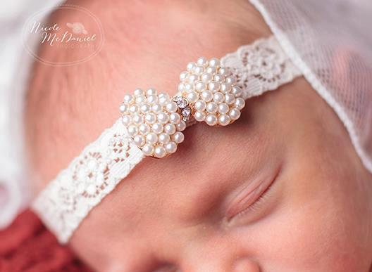 Retail !NEW baby White Lace Headband With Sparking Rhinestone Baby Headbands Luxe Headband 2pcs/lot(China (Mainland))