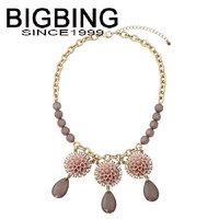 BigBing fashion jewelry pink flower tassel necklace chain necklace fashion choker Necklace wholesale jewelry Q683