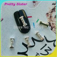 100pcs of New Arrive Letter I  3D Metal Alloy Nail Art Decoration Professional nail art supplier wholesale