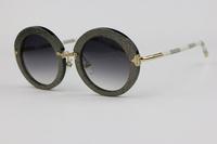 Round frame Unisex Sunglasses Z0520  Silver Flash White leather leg Retro style Gradient Lens  Anti-UV 400