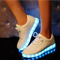 New Casual Flat Sneakers Women Men USB 7 Colorful Luminous Shoes Plus Size US 10.5 Running shoes For Women Free Shipping