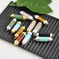 DIY 8Pcs Mixed Drzuzy Healing Chakra Stone Connector Beads Jewelry making