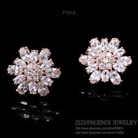 ZSE045 2015 New Luxury AAA Cubic Zirconia Flowers Stud Earrings Women fashion Jewelry bijoux POXE brincos Mujer