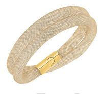 Wholesale Sale Stardust Beige Double Bracelet with tiny resin crystal filled magnetic stardust bracelet