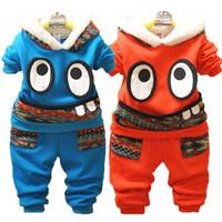 Winter male female child plus velvet thickening child winter set sweatshirt twinset small children's clothing sports