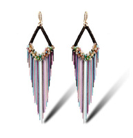 2015 Valentine's Day gift  Luxury jewelry with gift box Austrian crystal bohemian style drop earring long tassels for women,138
