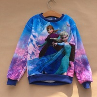 coral fleece Warm 5-6T Years Frozen Ann & Elsa blue Hoodie Coat Sweat shirts Jumpers Dress Full children girls