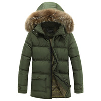 Wholesale 2014 new men's padded winter coat Korean men's long winter hooded fur collar coat jacket