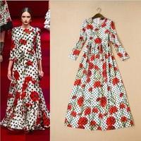 New Arrival 2014 Autumn winter fashion designer polka dot print long-sleeve gorgeous full dress#Y8078