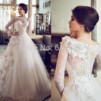Romantic Lace vestido de noiva Vintage Full Sleeve Appliques Beading See Through Chapel Train Fashion A-line Wedding Dress 2015