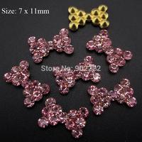 10pcs  Pink rhinestones 3d nail art bows glitter nail jewelry supplies AM65