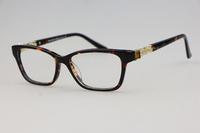 Square frame Unisex plain mirror 4102 Leopard colors (tortoiseshell) Luxurious inlay Rhinestone Optical frames