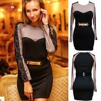 2014 New Women Sexy Vestidos Belted Lace Trim Long Sleeves Mini Dress Desigual Dress Office Dress Drop shipping Free shipping