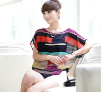 Women's wear loose big yards of irregular colorful stripe chiffon unlined upper garment of a T-shirt with short sleeves jacket