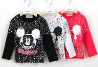 2015 Spring Children T shirt Cotton Cartoon Dot Mickey Long Sleeve Girls Boys T-shirts Tops White Black Rose New Deisgn 6135407