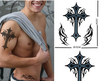 new arrived Waterproof tattoo sticker male big black cross 20.5 22cm extra large
