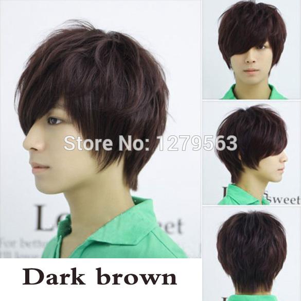 Bs # s мода человек обычный короткий полный парик темно-коричневый прямой парик