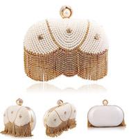 New Arrival Crystal Evening Bags Pearl Beaded Evening Bag Diamond Women Clutch Bags Tassel Handbags
