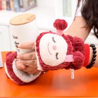 Autumn And Winter Cute Cartoon Animal Gloves Half Fingered Warm Gloves Thicken Gloves