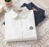 New Women blouse polka dot casual Lapel Shirt Colorful Long Sleeve Cotton shirts blusas 2014