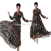 Bohemian 2015 Spring Summer Women V-Neck Print Chiffon Long Sleeve Faux 2 Piece Maxi Dress Casual Party Evening Vestidos YT1071