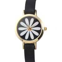 NEW Gorgeous Women Quartz Wristwatch Women Dress Watch Ladies Flower Printing Watch PU Leather Strap 3 Colors