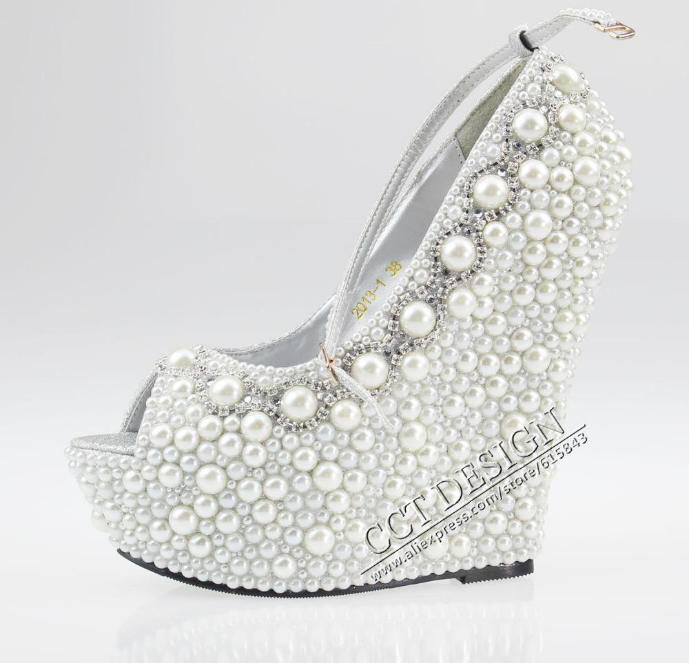 Women White Black Ivory Pearl Rhinestone Wedges 14cm Peep Toe Wedding Bridal High Heels Ankle Strap Pumps Shoes Free Shipping(China (Mainland))