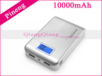 Best Quality ! Original Power Bank Pineng PN-928 10000mAh Dual USB LCD LED Battery Charger For Mobile Phone/ Silver