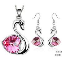 Korean Fashion Jewelry Austrian Crystal Necklace Earrings - Swan couple sets 1005-19 ( Rose )