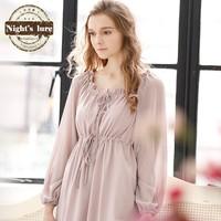 Wire spring and autumn brief white cotton lantern sleeve lacing chiffon home skirt plus size nightgown sleepwear