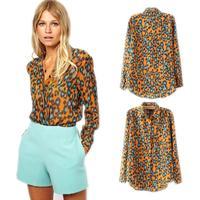 Fashion new leopard print casual long-sleeved chiffon blouses animal print blusas femininas YW001