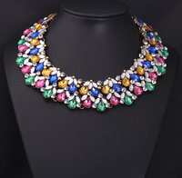 New Vintage Colorful flowers crystal Necklaces gem Choker Exaggeration false collar Statement necklace Design Women Costume