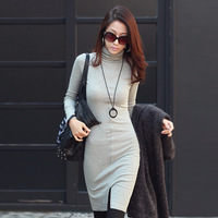 2014 new Korean OL autumn and winter long sleeved knit bag hip  female backing self-cultivation high necked dress