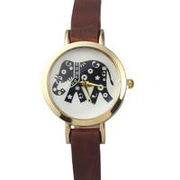 Charm Women Elephant Watches Golden Dial Analog Quartz Watch, PU Leather Band Wristwatch Smart Clock Women Dress Watches
