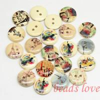 "50PCS Mixed 2 Holes ""landmarks"" Cartoon Wood Sewing Buttons Scrapbooking 15mm Knopf Bouton(w02904)Free shipping"
