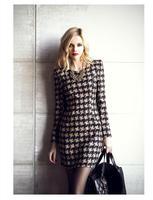 vestidos femininos 2015 Women Round Neck Long Sleeve Grey Plaid Printed Dress Winter Casual OL Office Work Dress Plus Size