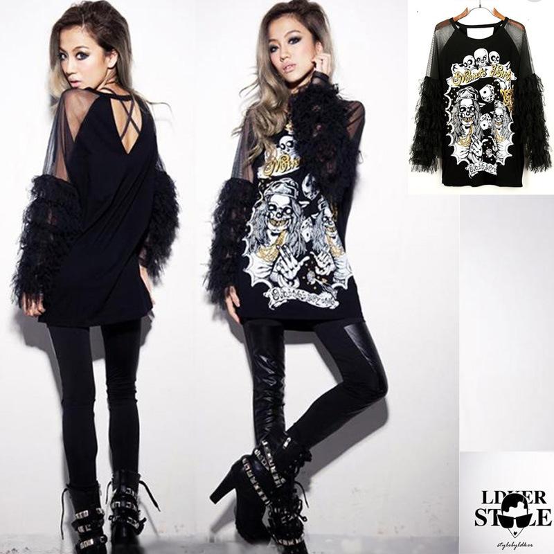 roupas femininas women spring and autumn skull t shirt hip-hop costume top personality plus size blusas(China (Mainland))